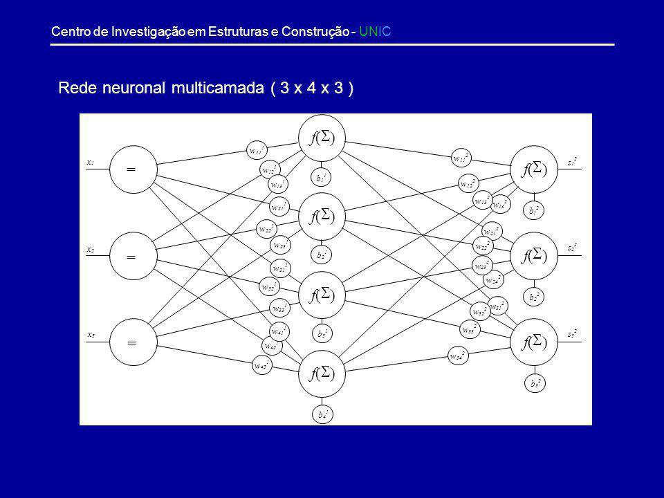 Rede neuronal multicamada ( 3 x 4 x 3 )