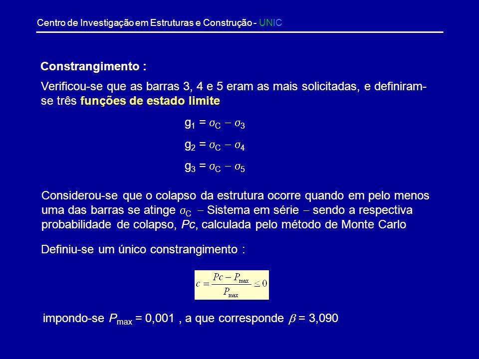 Constrangimento : Verificou-se que as barras 3, 4 e 5 eram as mais solicitadas, e definiram-se três funções de estado limite.