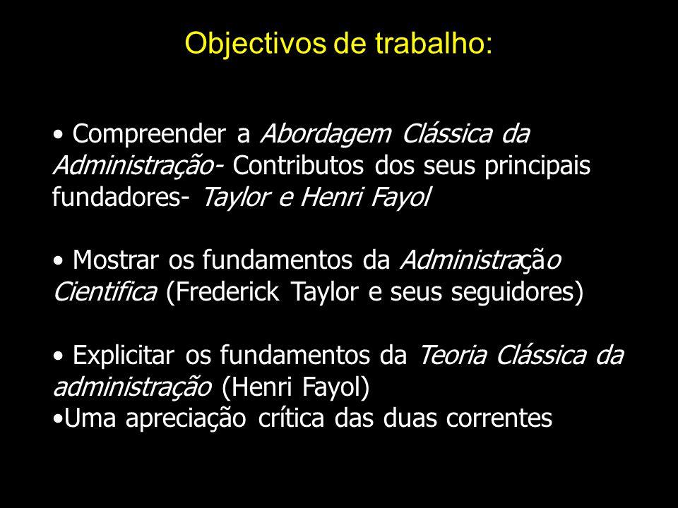 Objectivos de trabalho: