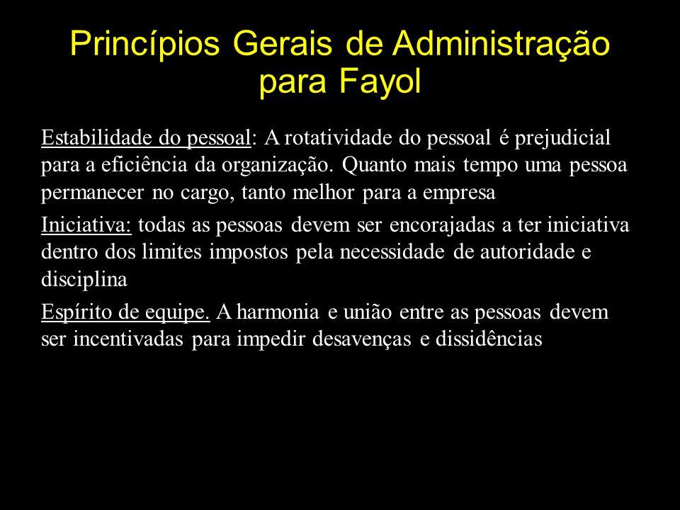 Princípios Gerais de Administração para Fayol