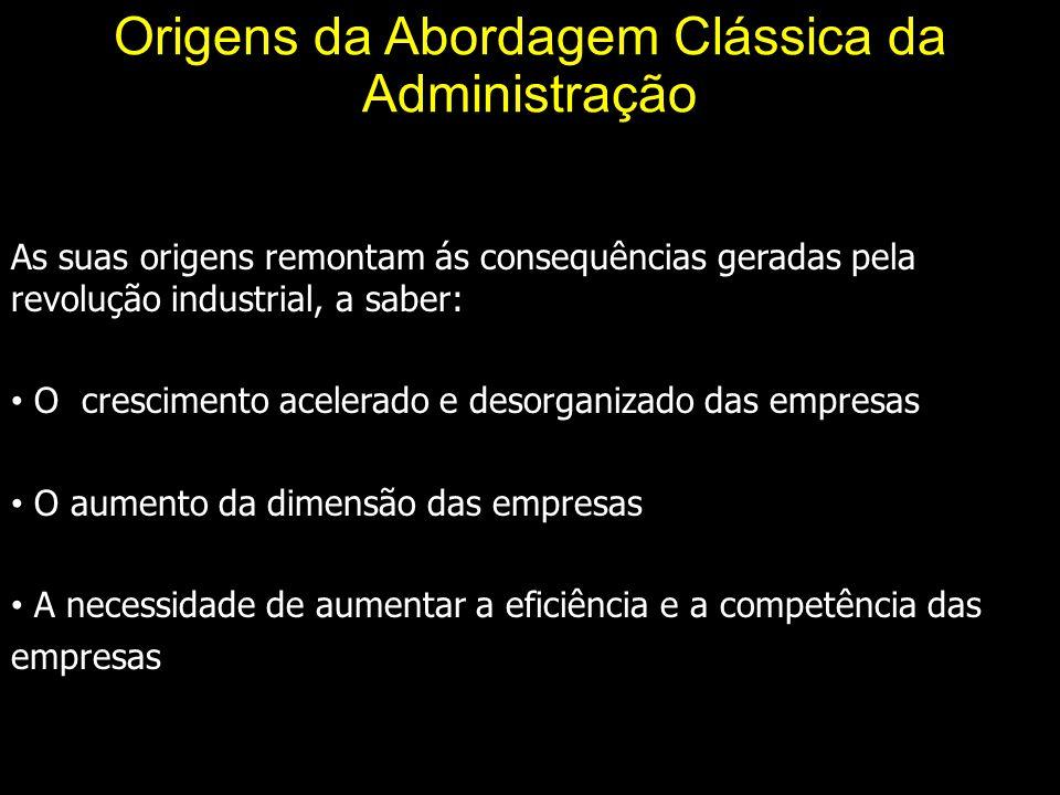 Origens da Abordagem Clássica da Administração