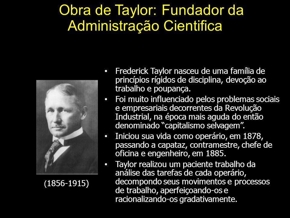 A Obra de Taylor: Fundador da Administração Cientifica