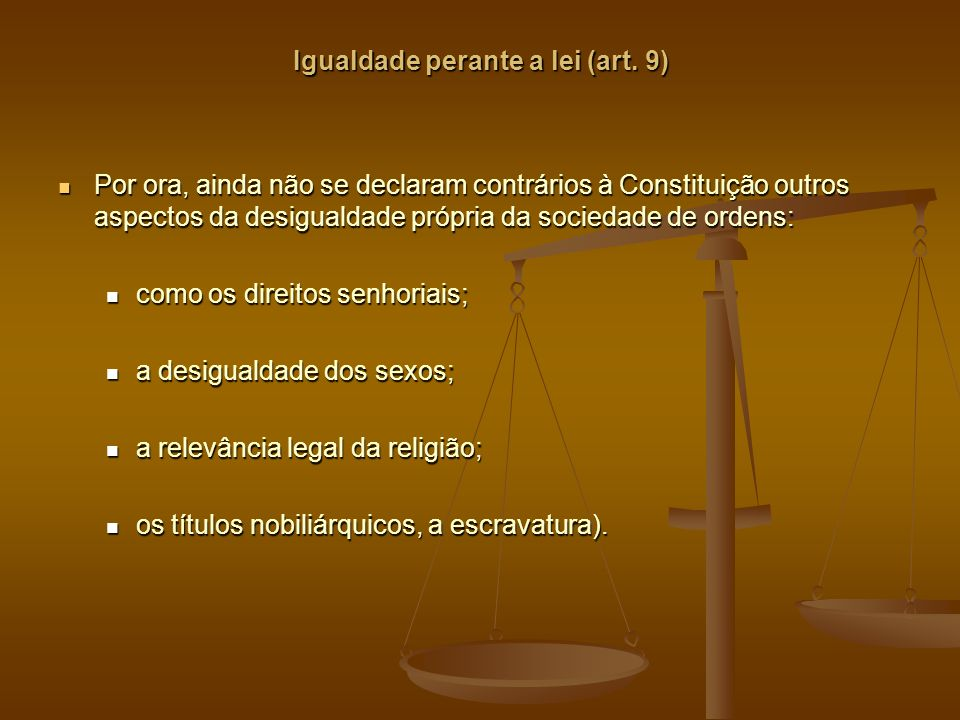 Igualdade perante a lei (art. 9)