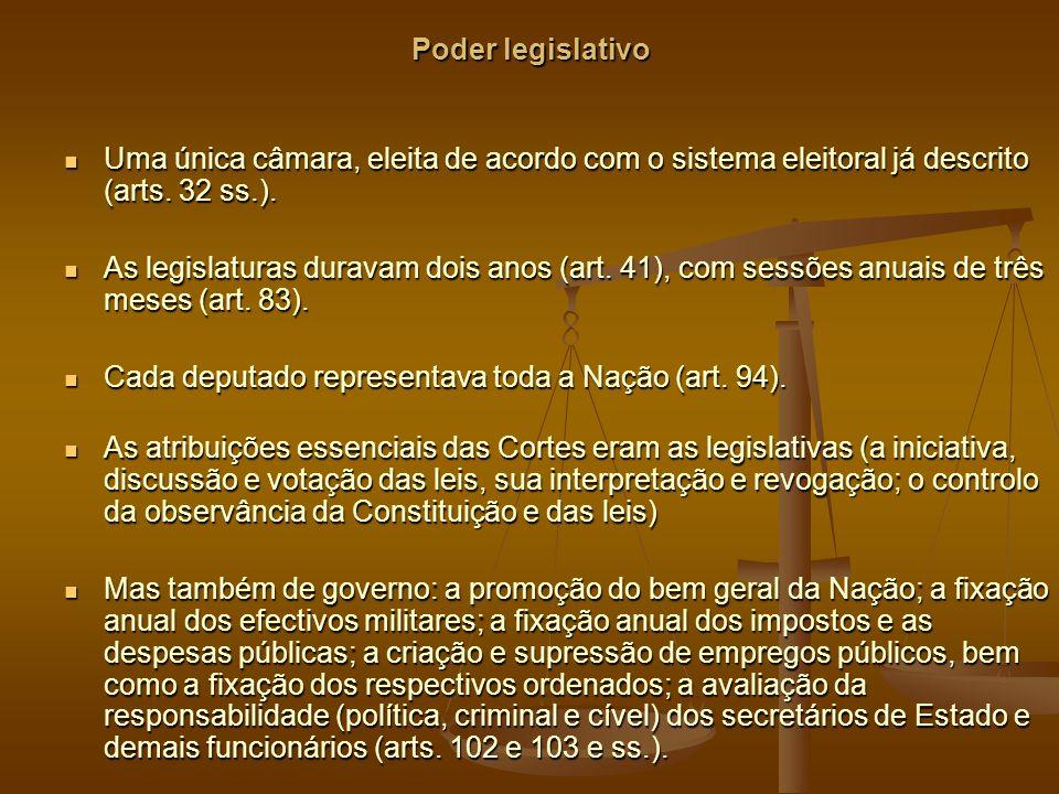 Poder legislativo Uma única câmara, eleita de acordo com o sistema eleitoral já descrito (arts. 32 ss.).