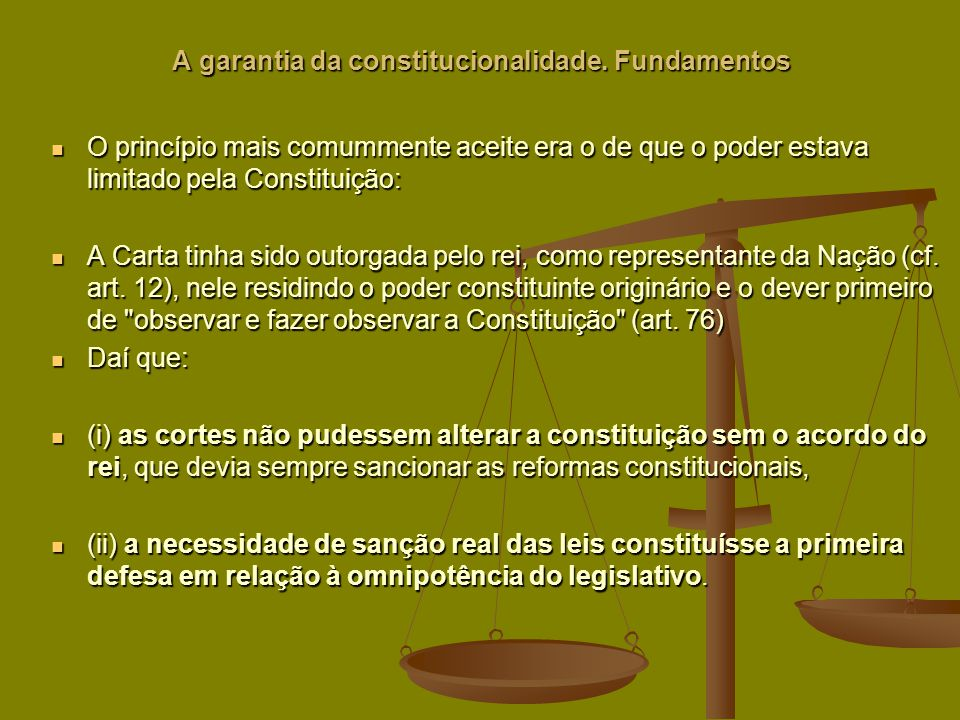 A garantia da constitucionalidade. Fundamentos