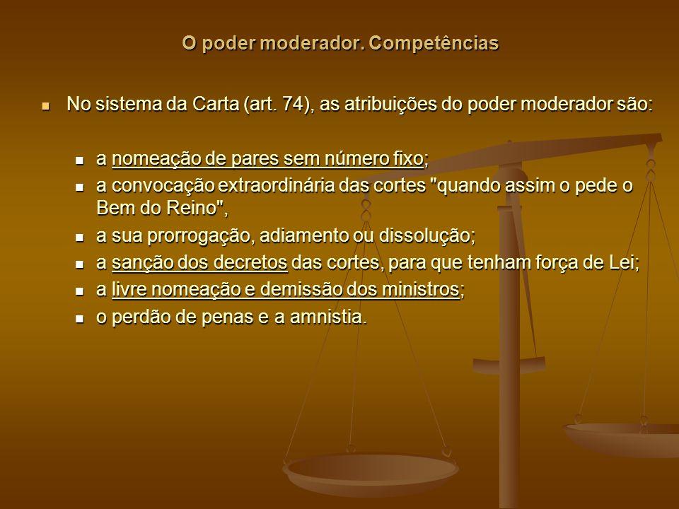 O poder moderador. Competências