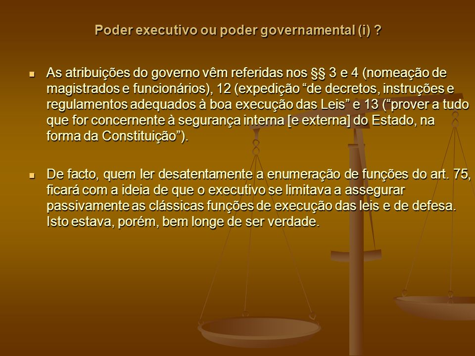 Poder executivo ou poder governamental (i)