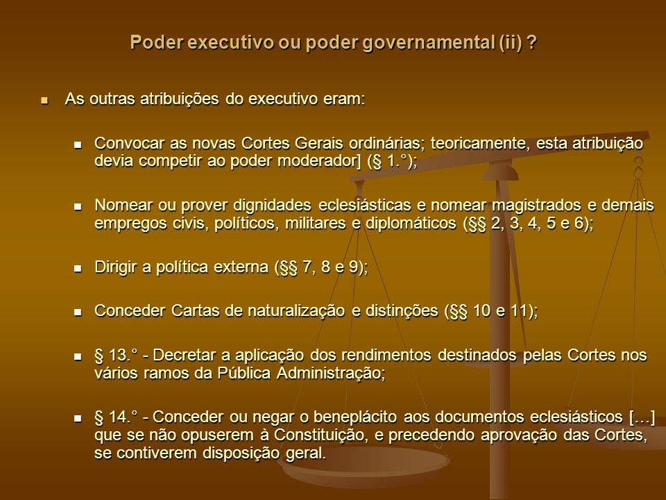 Poder executivo ou poder governamental (ii)