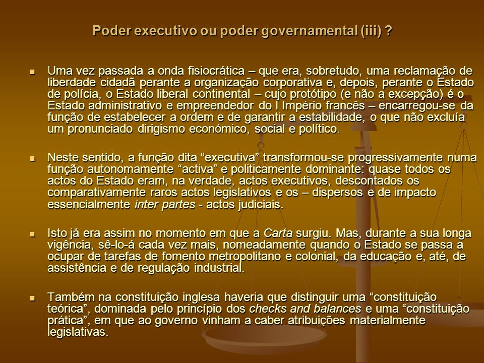 Poder executivo ou poder governamental (iii)