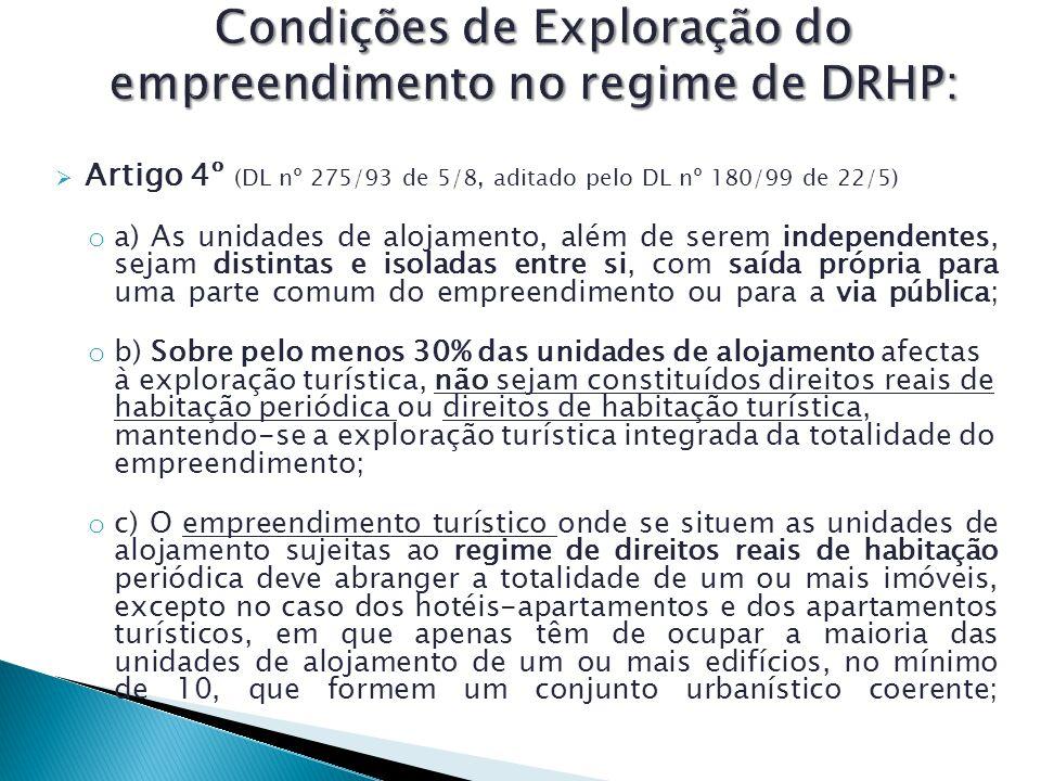 Condições de Exploração do empreendimento no regime de DRHP: