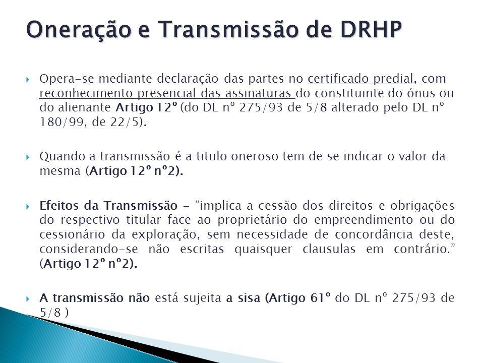 Oneração e Transmissão de DRHP