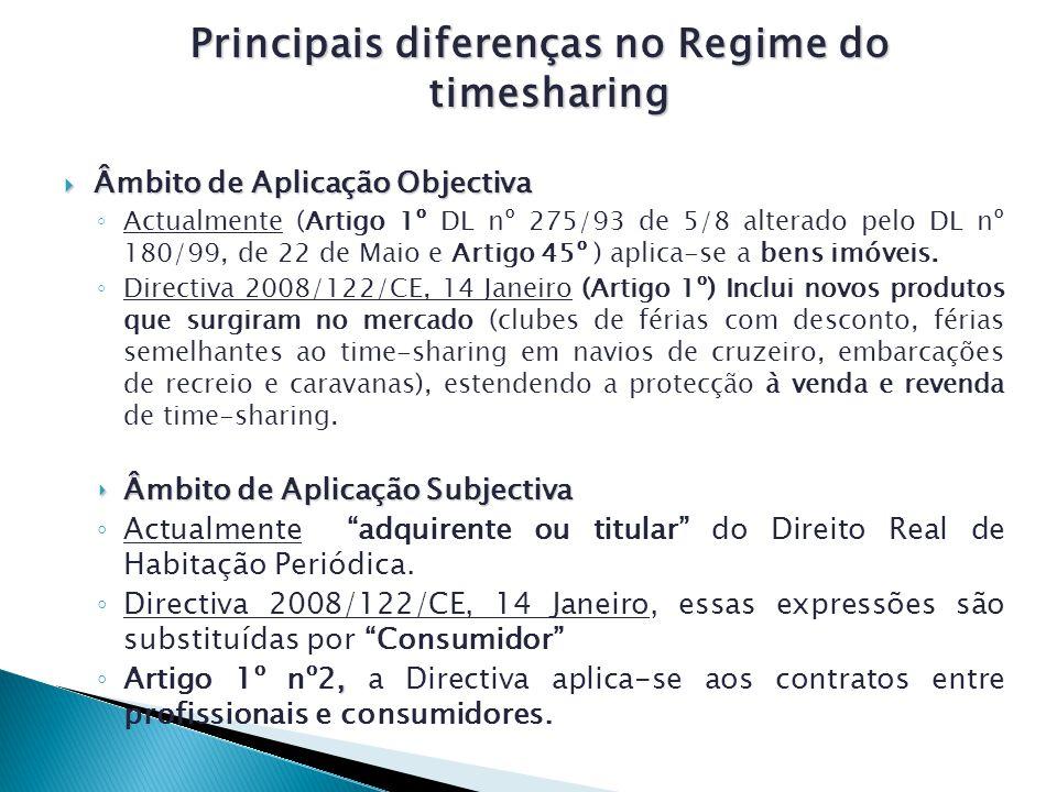 Principais diferenças no Regime do timesharing