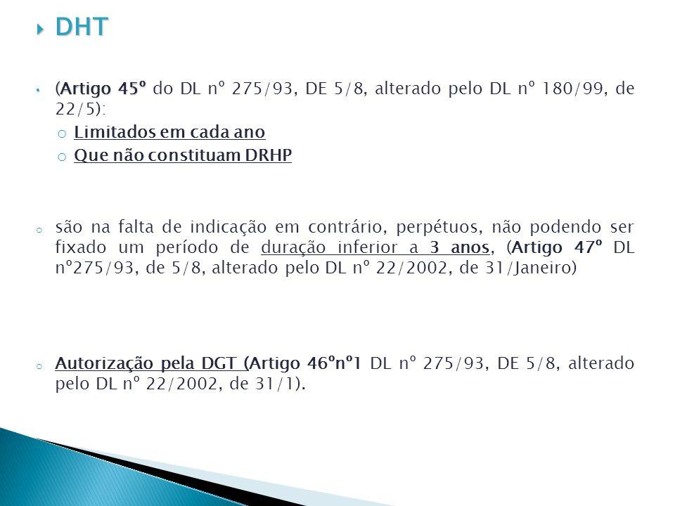 DHT (Artigo 45º do DL nº 275/93, DE 5/8, alterado pelo DL nº 180/99, de 22/5): Limitados em cada ano.