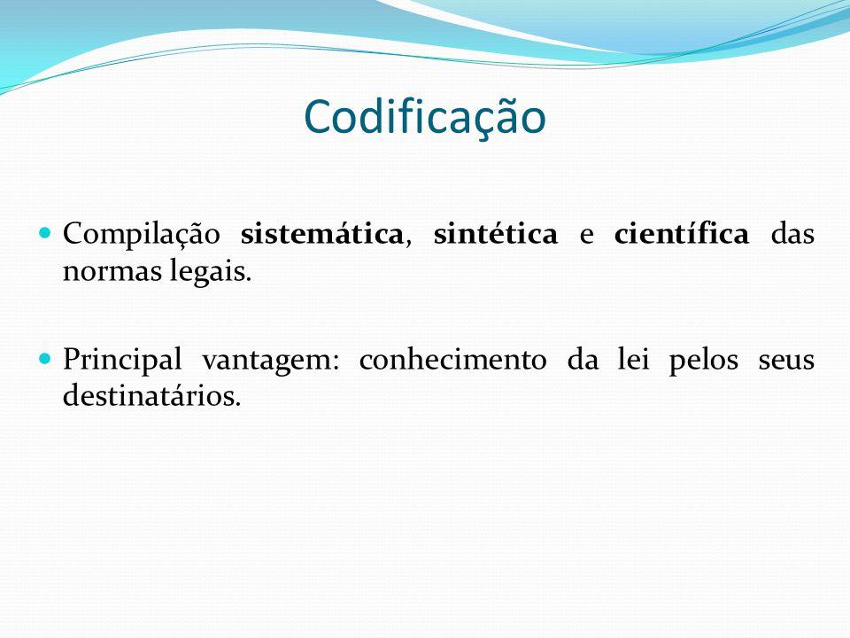 Codificação Compilação sistemática, sintética e científica das normas legais.