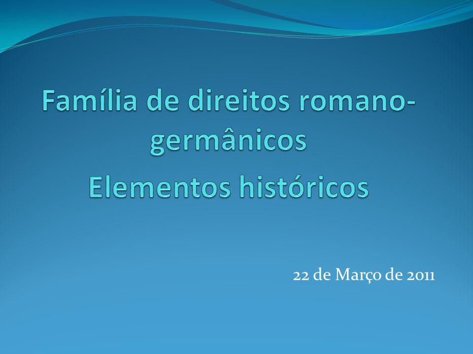 Família de direitos romano-germânicos Elementos históricos
