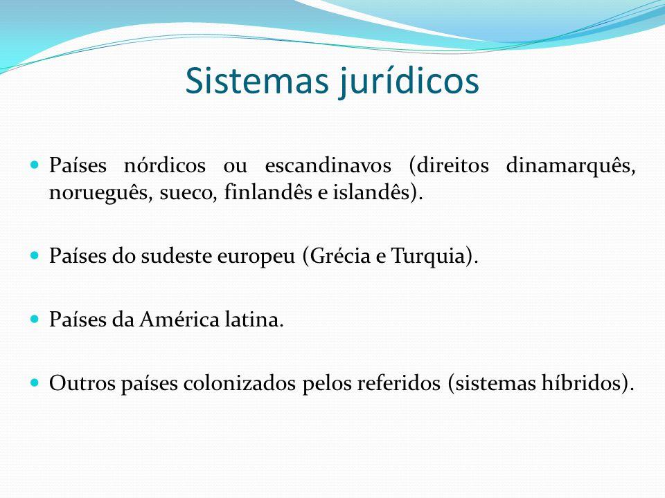 Sistemas jurídicos Países nórdicos ou escandinavos (direitos dinamarquês, norueguês, sueco, finlandês e islandês).