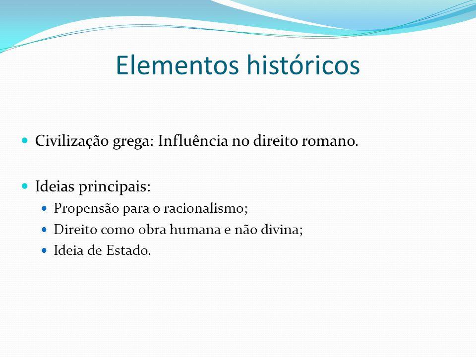 Elementos históricos Civilização grega: Influência no direito romano.