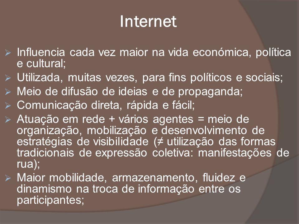 Internet Influencia cada vez maior na vida económica, política e cultural; Utilizada, muitas vezes, para fins políticos e sociais;