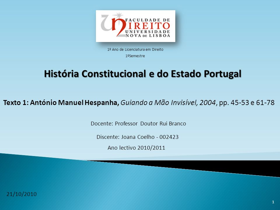 História Constitucional e do Estado Portugal