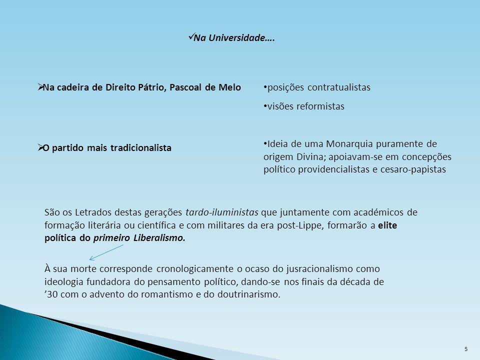Na Universidade…. Na cadeira de Direito Pátrio, Pascoal de Melo. posições contratualistas. visões reformistas.