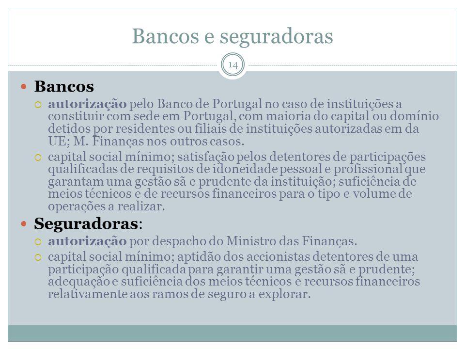 Bancos e seguradoras Bancos Seguradoras: