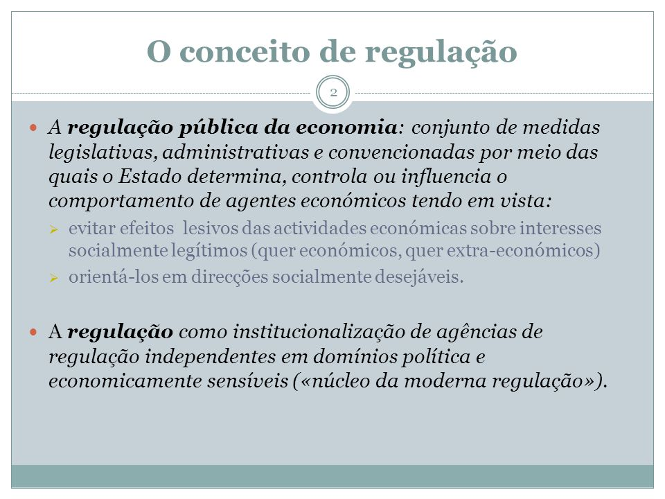 O conceito de regulação