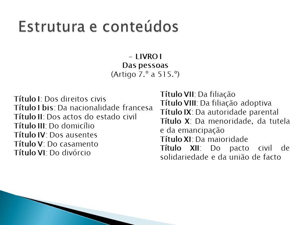 Estrutura e conteúdos LIVRO I Das pessoas (Artigo 7.º a 515.º)