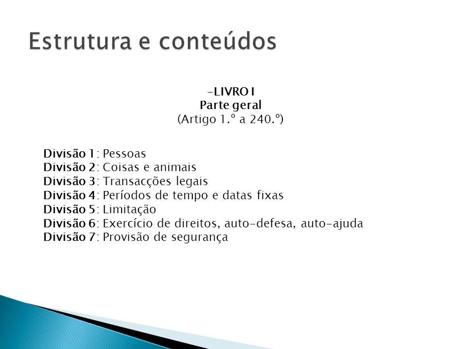 Estrutura e conteúdos LIVRO I Parte geral (Artigo 1.º a 240.º)