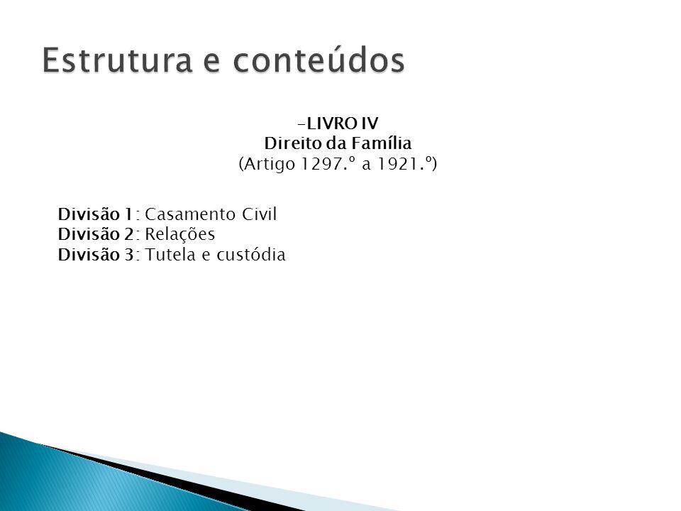 Estrutura e conteúdos LIVRO IV Direito da Família
