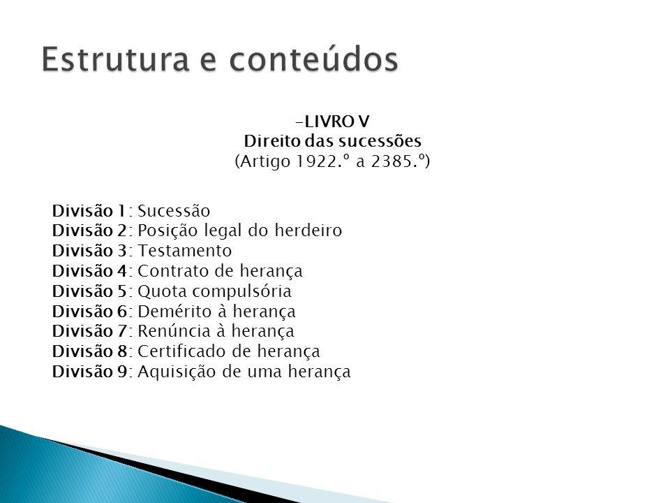 Estrutura e conteúdos LIVRO V Direito das sucessões