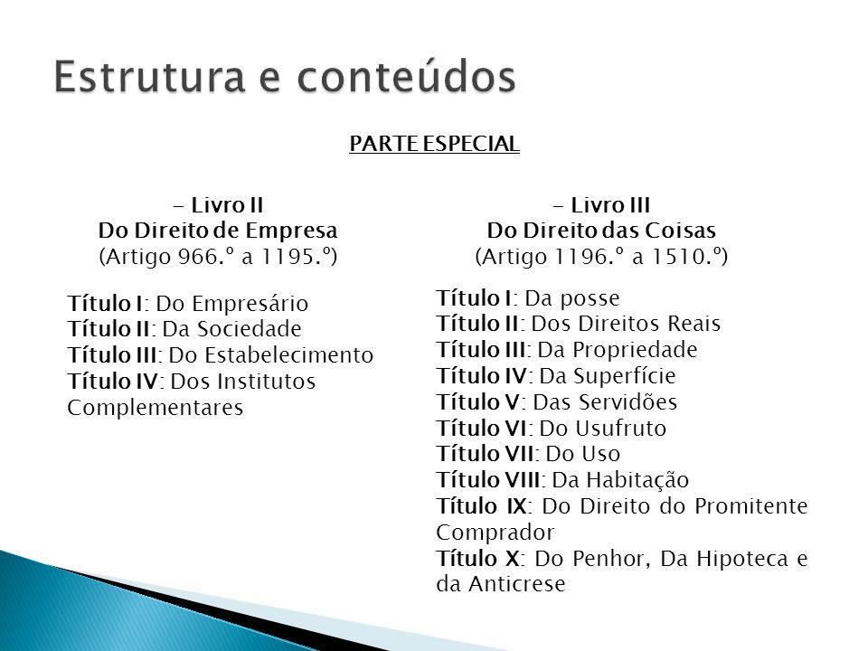 Estrutura e conteúdos PARTE ESPECIAL - Livro II Do Direito de Empresa