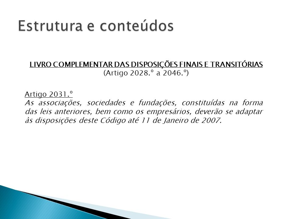 LIVRO COMPLEMENTAR DAS DISPOSIÇÕES FINAIS E TRANSITÓRIAS