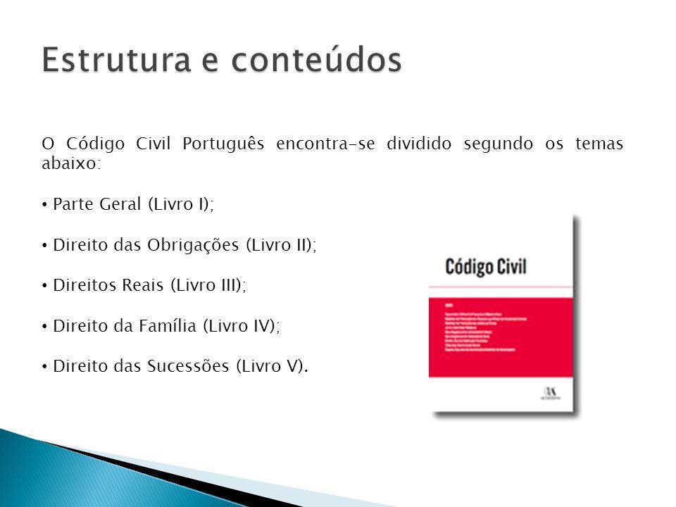 Estrutura e conteúdos O Código Civil Português encontra-se dividido segundo os temas abaixo: Parte Geral (Livro I);