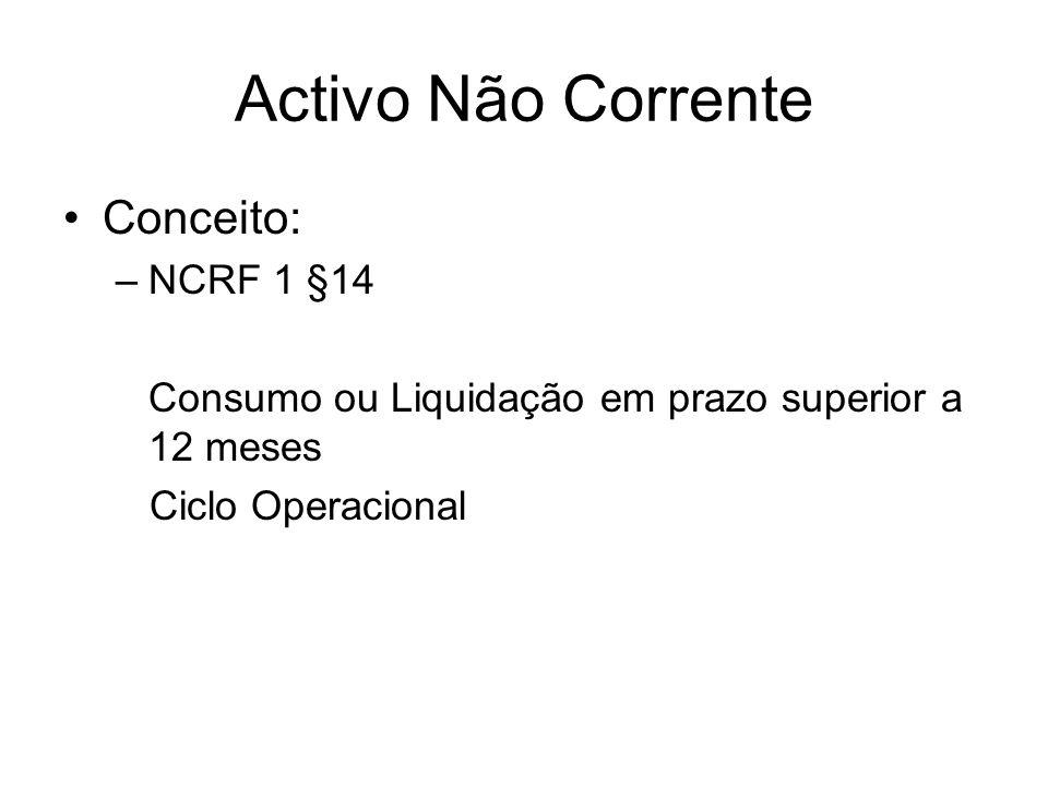 Activo Não Corrente Conceito: NCRF 1 §14
