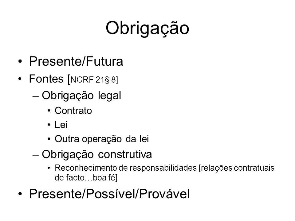 Obrigação Presente/Futura Presente/Possível/Provável