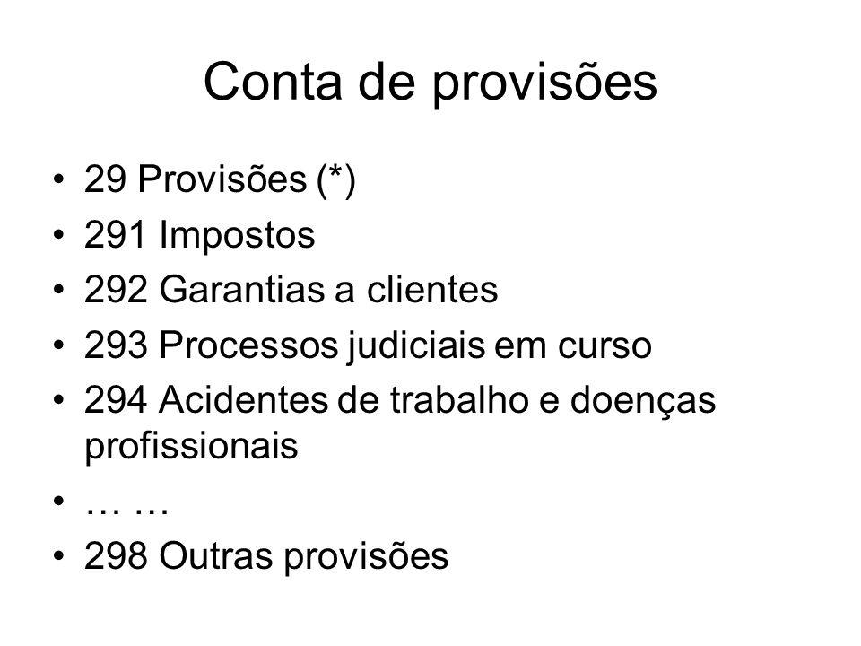 Conta de provisões 29 Provisões (*) 291 Impostos