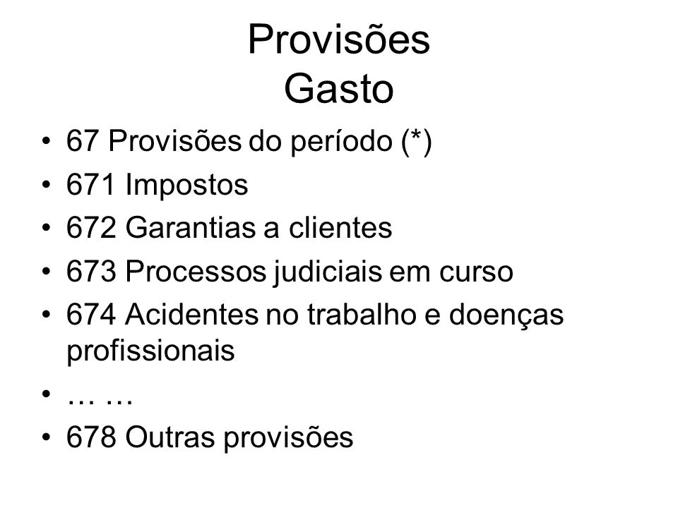 Provisões Gasto 67 Provisões do período (*) 671 Impostos