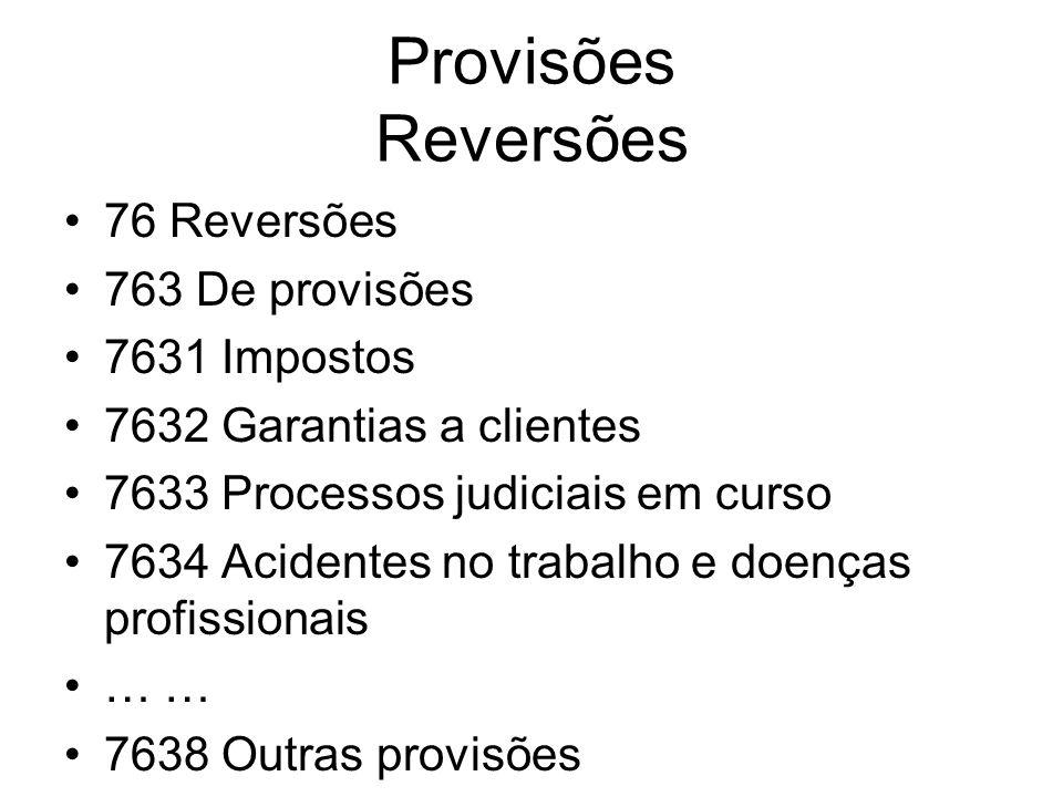 Provisões Reversões 76 Reversões 763 De provisões 7631 Impostos