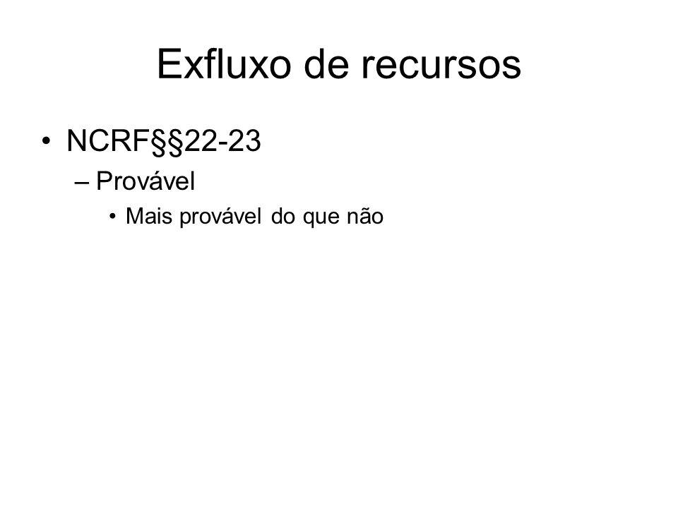 Exfluxo de recursos NCRF§§22-23 Provável Mais provável do que não