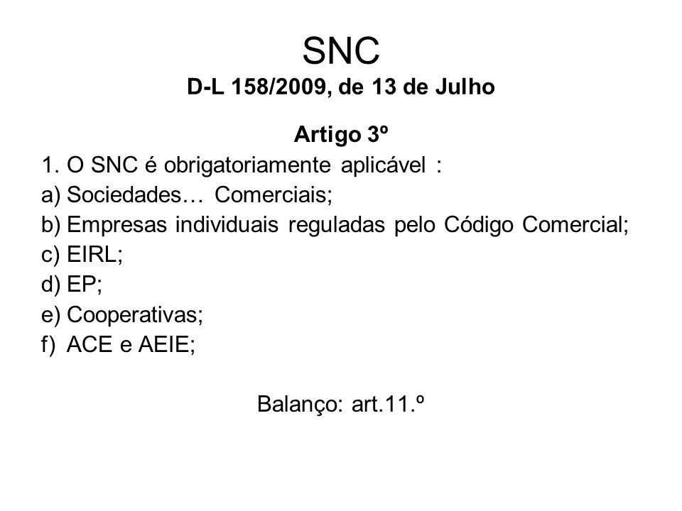 SNC D-L 158/2009, de 13 de Julho Artigo 3º