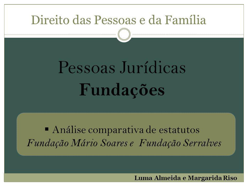 Pessoas Jurídicas Fundações Direito das Pessoas e da Família