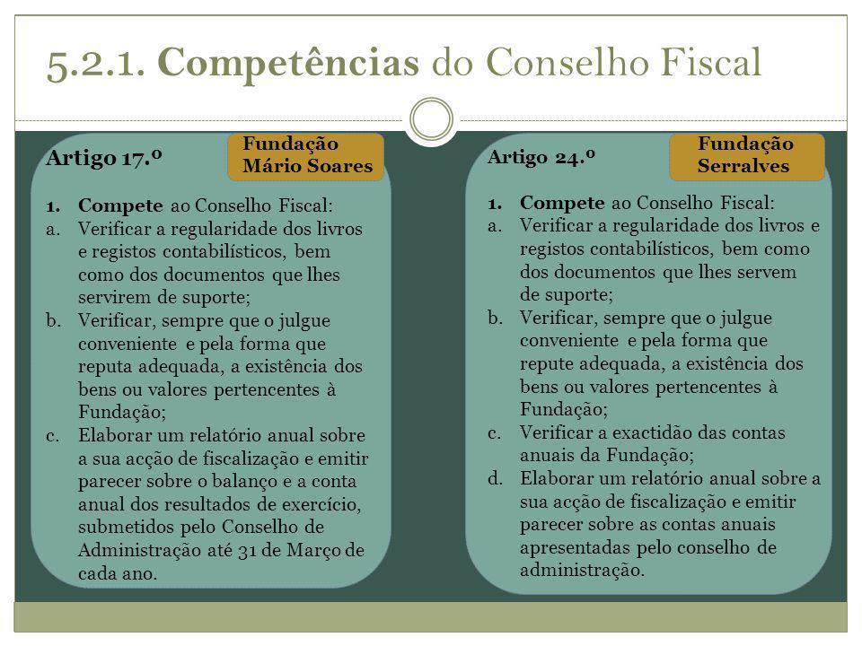 5.2.1. Competências do Conselho Fiscal
