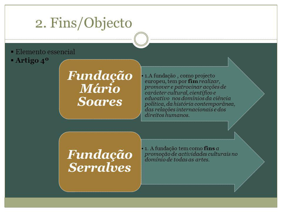 2. Fins/Objecto Fundação Mário Soares Fundação Serralves