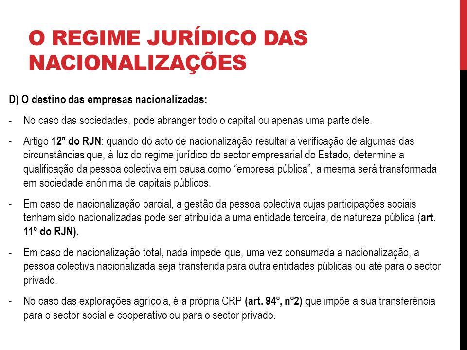 O REGIME JURÍDICO DAS NACIONALIZAÇÕES