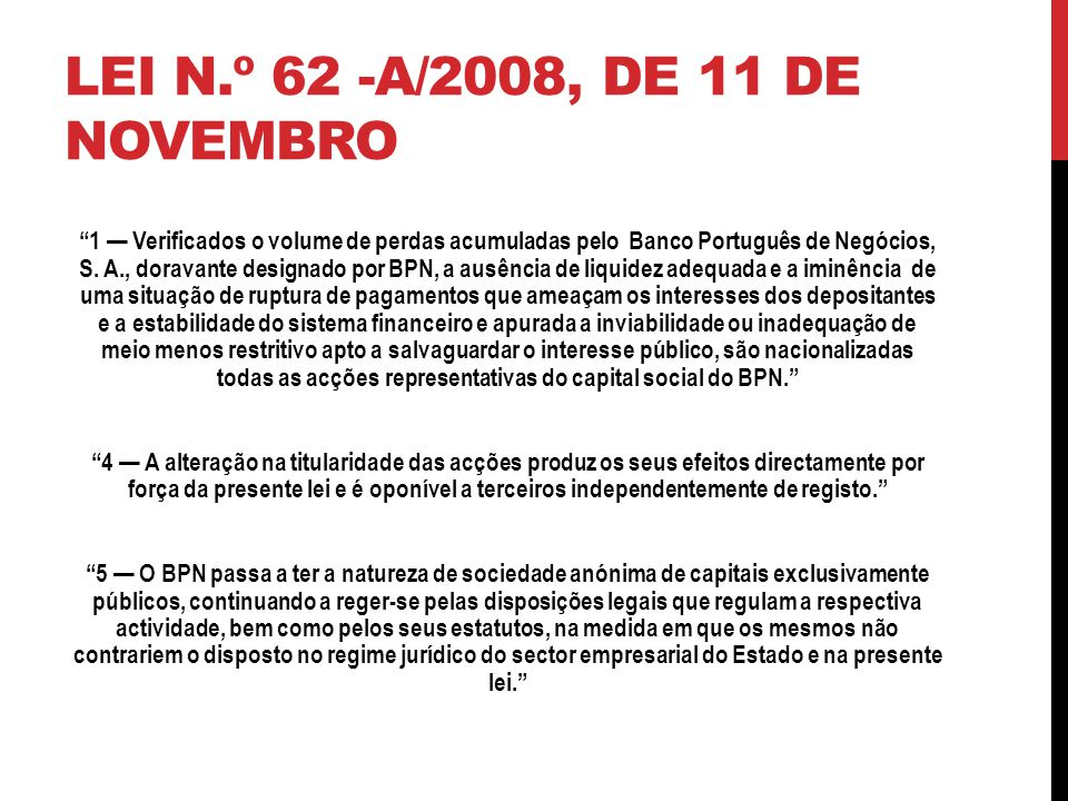 Lei n.º 62 -A/2008, de 11 de Novembro