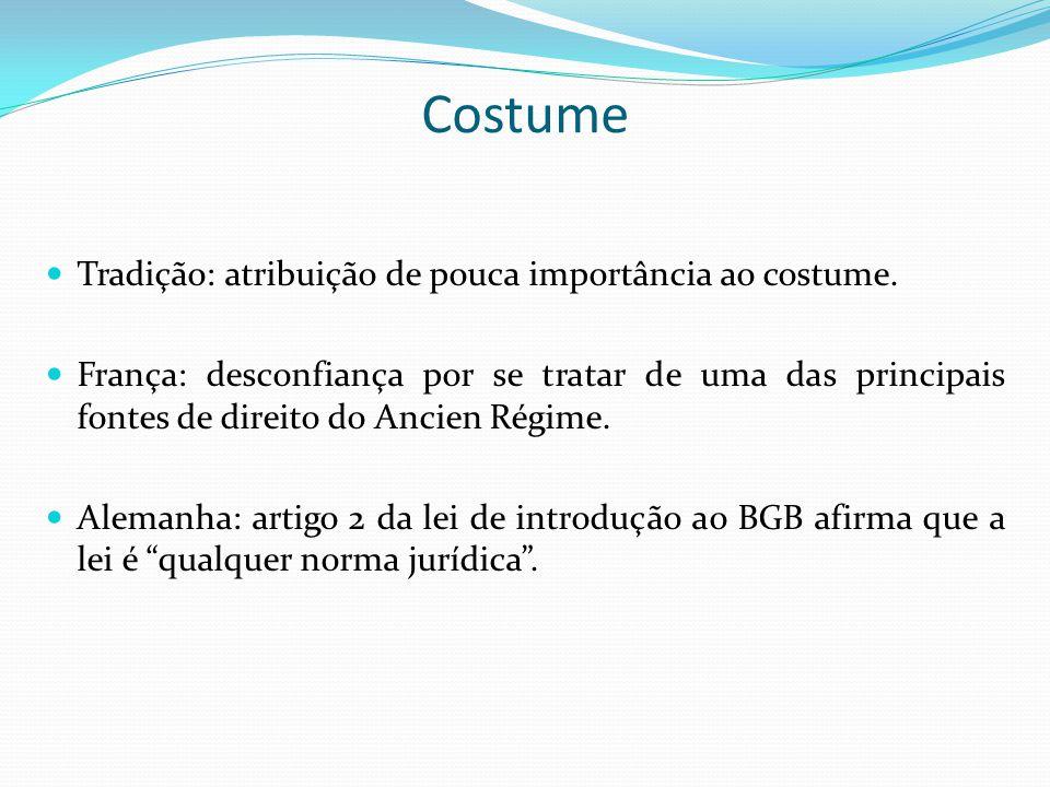 Costume Tradição: atribuição de pouca importância ao costume.