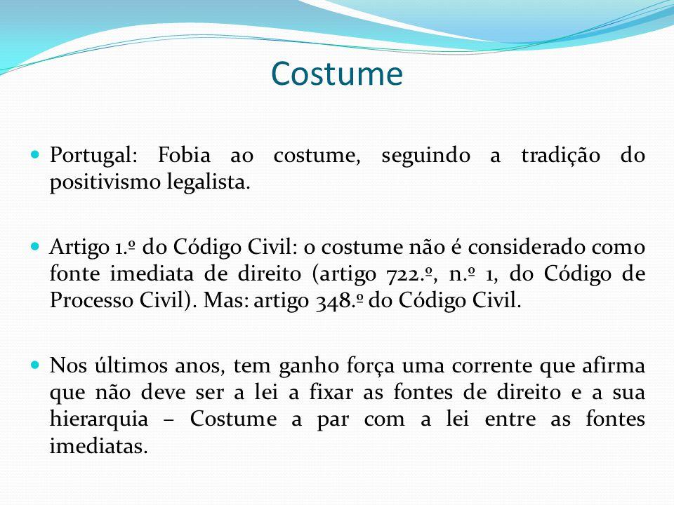 Costume Portugal: Fobia ao costume, seguindo a tradição do positivismo legalista.