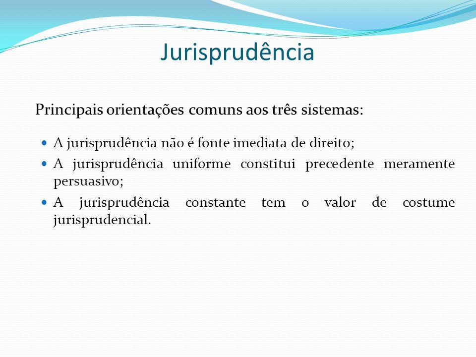 Jurisprudência Principais orientações comuns aos três sistemas:
