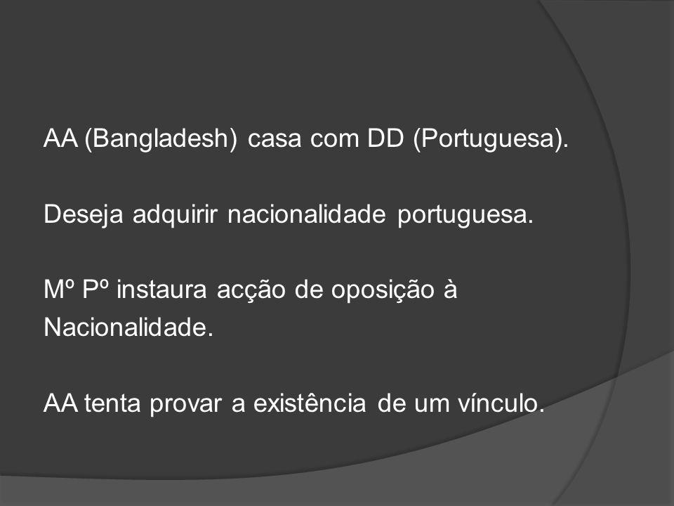 AA (Bangladesh) casa com DD (Portuguesa)