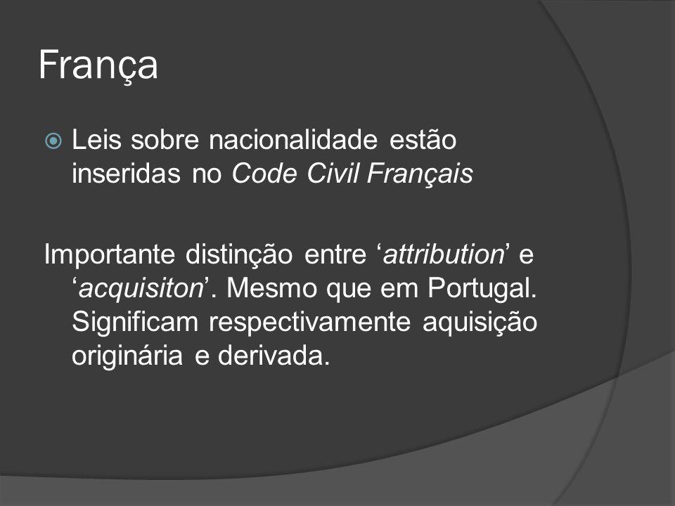 França Leis sobre nacionalidade estão inseridas no Code Civil Français